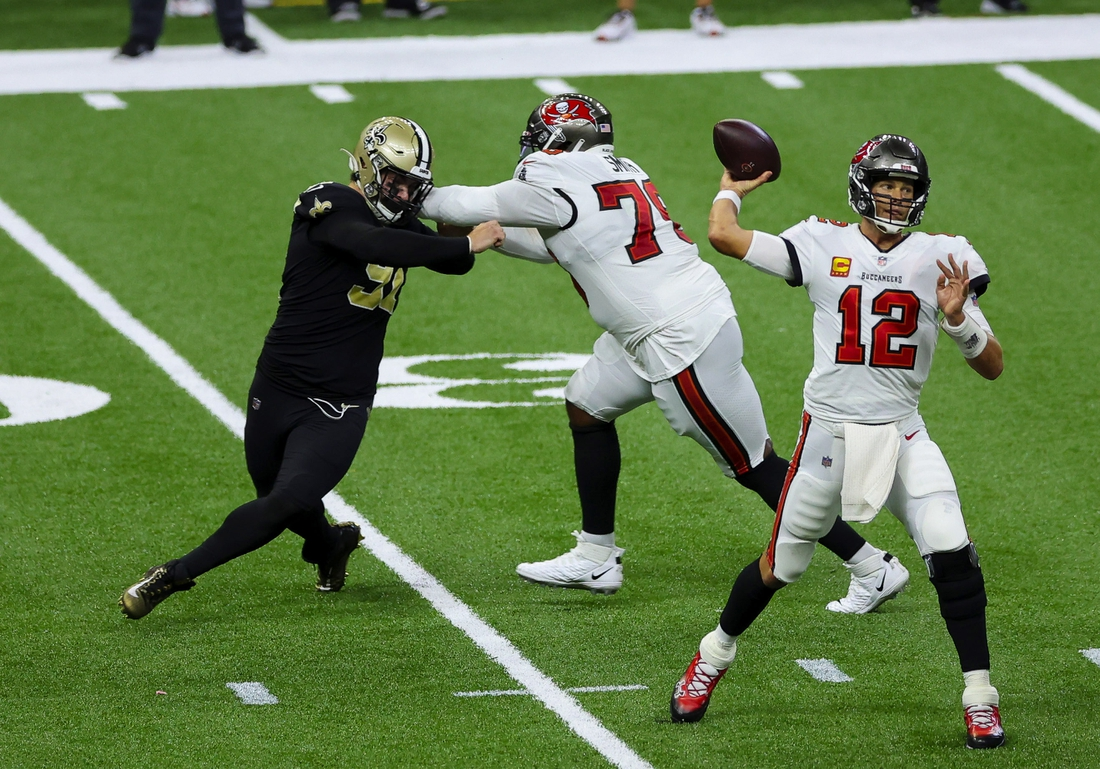 Sep 13, 2020; New Orleans, Louisiana, USA; Tampa Bay Buccaneers quarterback Tom Brady (12) throws against the New Orleans Saints during the second quarter at the Mercedes-Benz Superdome. Mandatory Credit: Derick E. Hingle-USA TODAY Sports