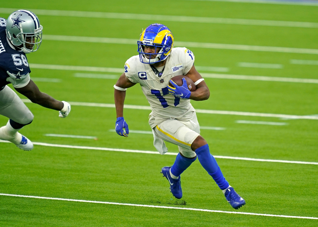 Sep 13, 2020; Inglewood, California, USA; Los Angeles Rams receiver Robert Woods (17) carrels the ball against the Dallas Cowboys during the first half at SoFi Stadium. Mandatory Credit: Kirby Lee-USA TODAY Sports