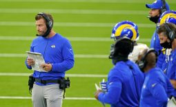 Sep 13, 2020; Inglewood, California, USA; Los Angeles Rams head coach Sean McVay looks on during the first half against the Dallas Cowboys at SoFi Stadium. Mandatory Credit: Kirby Lee-USA TODAY Sports