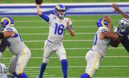 Sep 13, 2020; Inglewood, California, USA; Los Angeles Rams quarterback Jared Goff (16) passes the ball in the second quarter of the game against the Dallas Cowboys at SoFi Stadium. Mandatory Credit: Jayne Kamin-Oncea-USA TODAY Sports