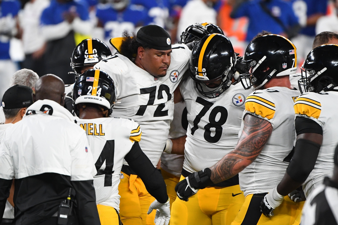 Sep 14, 2020; East Rutherford, New Jersey, USA; Pittsburgh Steelers offensive tackle Zach Banner (72) is taken away from the field after being injured during the fourth quarter against the New York Giants at MetLife Stadium. Mandatory Credit: Robert Deutsch-USA TODAY Sports