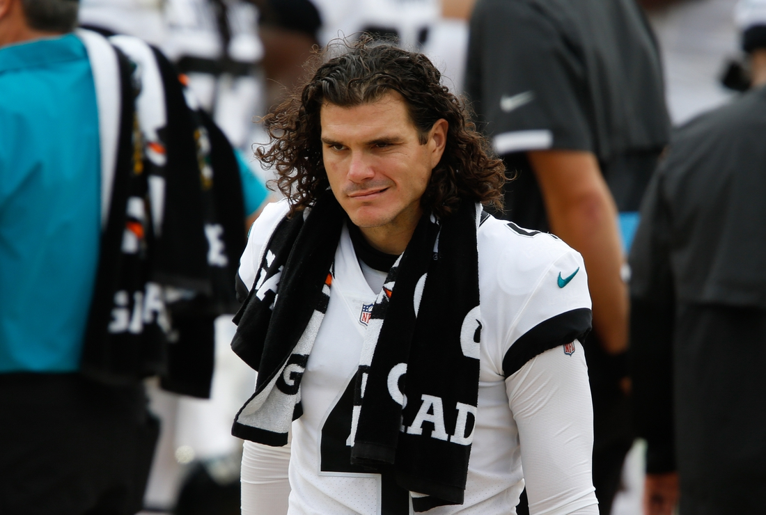 Sep 13, 2020; Jacksonville, Florida, USA;  Jacksonville Jaguars kicker Josh Lambo (4) walks on the bench during the second half against the Indianapolis Colts at TIAA Bank Field. Mandatory Credit: Reinhold Matay-USA TODAY Sports