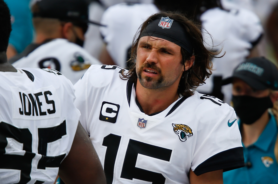 Sep 13, 2020; Jacksonville, Florida, USA;  Jacksonville Jaguars quarterback Gardner Minshew (15) walks on the bench during the second half against the Indianapolis Colts at TIAA Bank Field. Mandatory Credit: Reinhold Matay-USA TODAY Sports