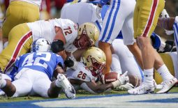 Sep 19, 2020; Durham, North Carolina, USA;  Boston College Eagles running back David Bailey (26) rushes for a touchdown against the Duke Blue Devils in the first quarter at Wallace Wade Stadium. Mandatory Credit: Nell Redmond-USA TODAY Sports