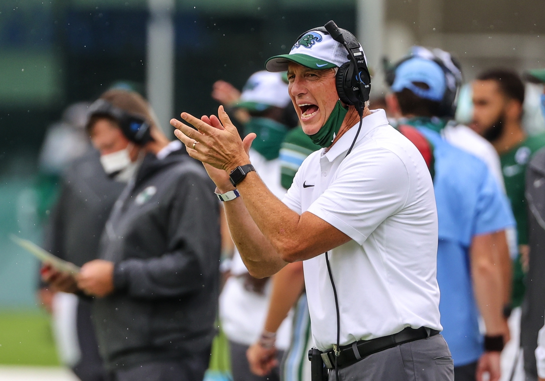 Sep 19, 2020; New Orleans, Louisiana, USA; Tulane Green Wave head coach Willie Fritz against the Navy Midshipmen during the first half at Yulman Stadium. Mandatory Credit: Derick E. Hingle-USA TODAY Sports