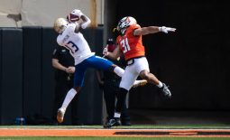 Sep 19, 2020; Stillwater, Oklahoma, USA; Tulsa Golden Hurricane wide receiver Josh Johnson (13) makes a touchdown catch while defended by Oklahoma State Cowboys safety Kolby Harvell-Peel (31) during the first half at Boone Pickens Stadium. Mandatory Credit: Rob Ferguson-USA TODAY Sports