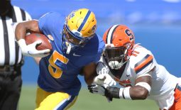 Sep 19, 2020; Pittsburgh, Pennsylvania, USA;  Pittsburgh Panthers wide receiver Jared Wayne (5) runs after a catch as Syracuse Orange defensive back Devon Clarke (11) defends during the second quarter at Heinz Field. Mandatory Credit: Charles LeClaire-USA TODAY Sports