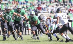 Sep 19, 2020; Huntington, West Virginia, USA; Marshall Thundering Herd running back Brenden Knox (20) runs the ball during the first quarter against the Appalachian State Mountaineers at Joan C. Edwards Stadium. Mandatory Credit: Ben Queen-USA TODAY Sports