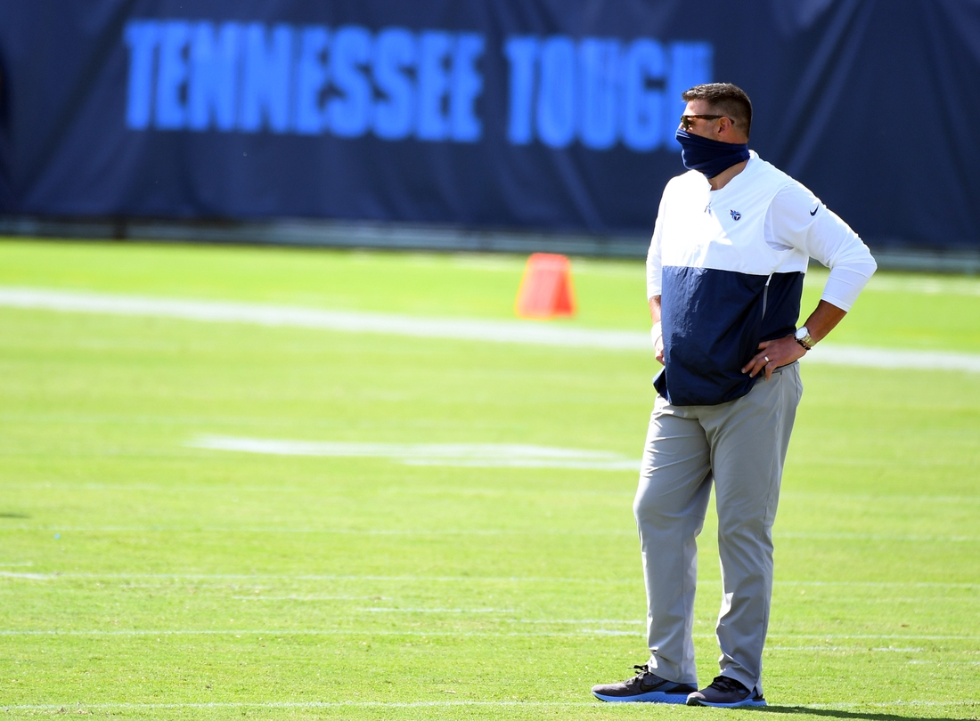 Sep 20, 2020; Nashville, Tennessee, USA; Tennessee Titans head coach Mike Vrabel before the game against the Jacksonville Jaguars at Nissan Stadium. Mandatory Credit: Christopher Hanewinckel-USA TODAY Sports