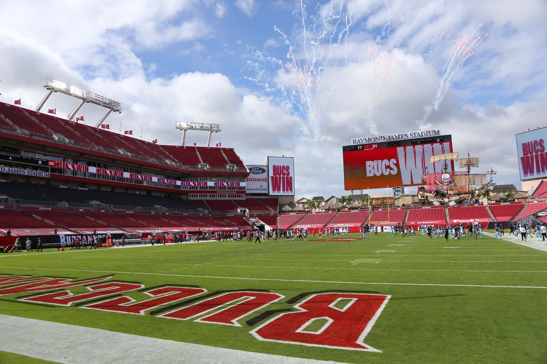 Sep 20, 2020; Tampa, Florida, USA;  General view of the field after the Tampa Bay Buccaneers defeated the Carolina Panthers at Raymond James Stadium. Mandatory Credit: Kim Klement-USA TODAY Sports