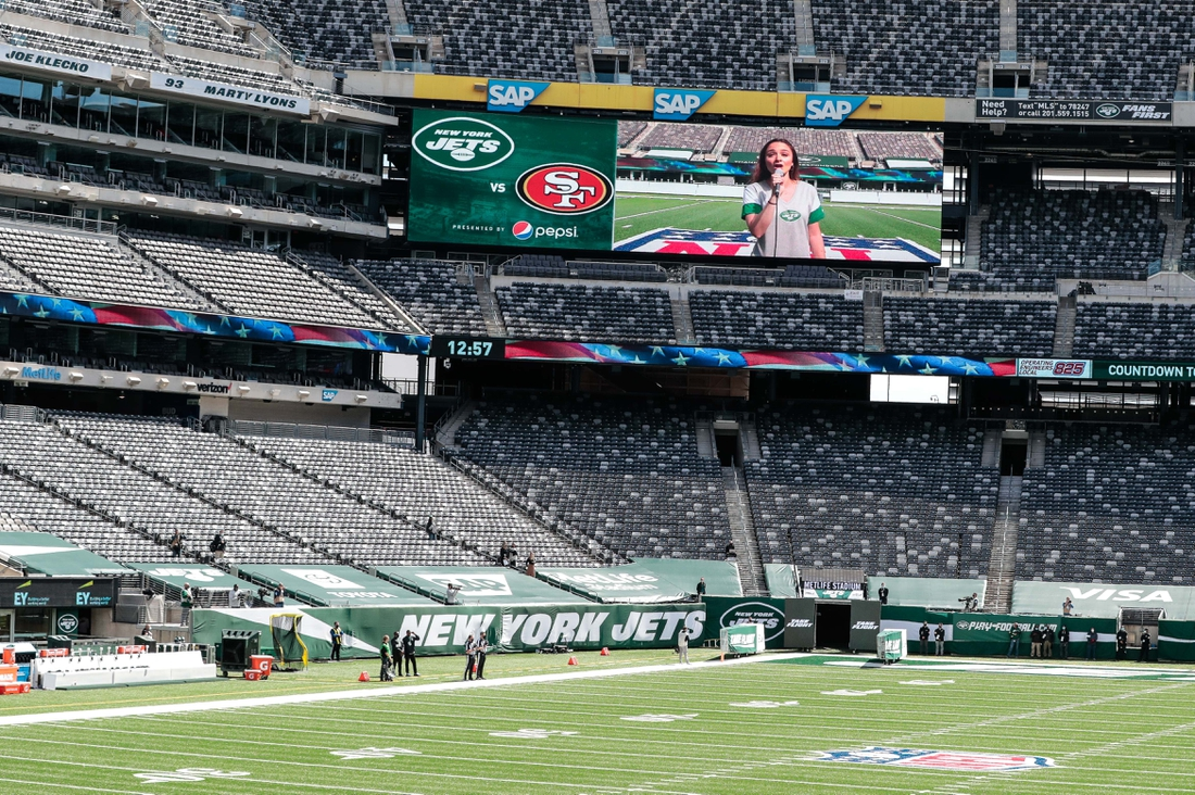 Sep 20, 2020; East Rutherford, New Jersey, USA; A general view of the New York Jets sidelines during the playing of the national anthem before their game against the San Francisco 49ers at MetLife Stadium. The New York Jets coaches, staff and players did not come on to the field for the national anthem.  Mandatory Credit: Vincent Carchietta-USA TODAY Sports