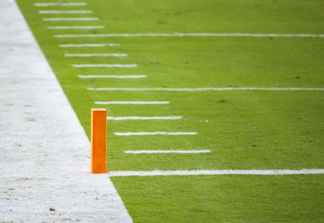Sep 20, 2020; Glendale, Arizona, USA; General view of the goal line, yard marker hashmarks and scoring pylon in the end zone during the Arizona Cardinals game against the Washington Football Team at State Farm Stadium. Mandatory Credit: Mark J. Rebilas-USA TODAY Sports