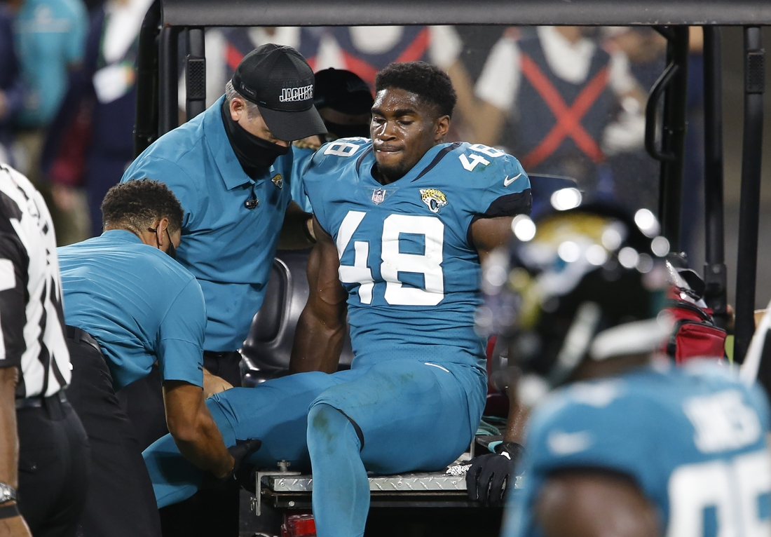 Sep 24, 2020; Jacksonville, Florida, USA;  Jacksonville Jaguars outside linebacker Leon Jacobs (48) is carted off of the field during the first quarter against the Miami Dolphins  at TIAA Bank Field. Mandatory Credit: Reinhold Matay-USA TODAY Sports