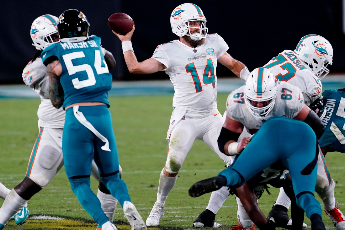 Sep 24, 2020; Jacksonville, Florida, USA; Miami Dolphins quarterback Ryan Fitzpatrick (14) drops back to pass the ball against the Jacksonville Jaguars during the first half at TIAA Bank Field. Mandatory Credit: Douglas DeFelice-USA TODAY Sports