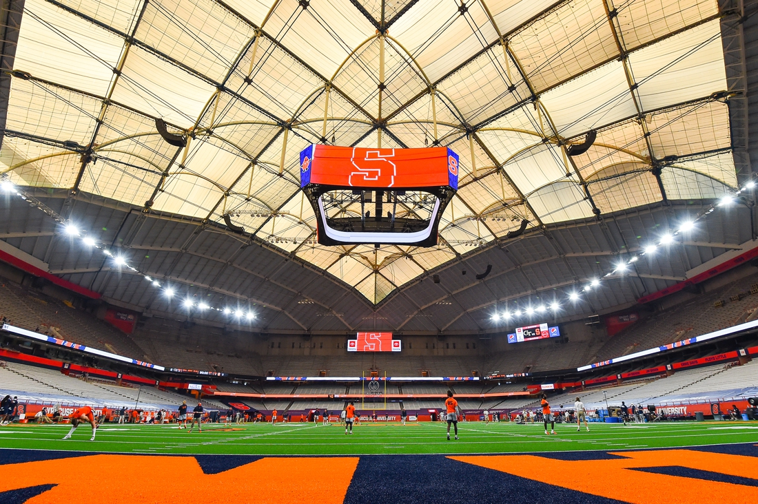 Sep 26, 2020; Syracuse, New York, USA; General view of the Carrier Dome prior to the game between the Georgia Tech Yellow Jackets and the Syracuse Orange. Mandatory Credit: Rich Barnes-USA TODAY Sports