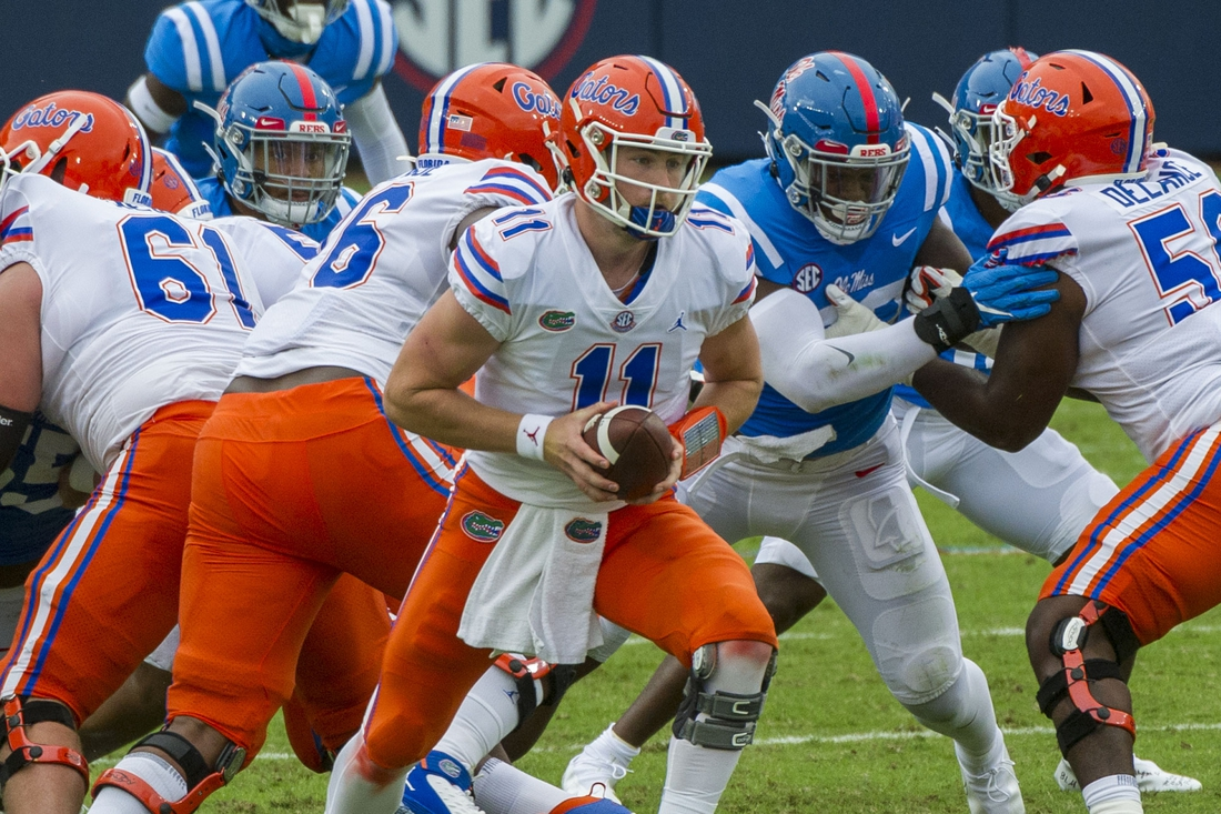 Sep 26, 2020; Oxford, Mississippi, USA; Florida Gators quarterback Kyle Trask (11) during the first half against the Mississippi Rebels  at Vaught-Hemingway Stadium. Mandatory Credit: Justin Ford-USA TODAY Sports