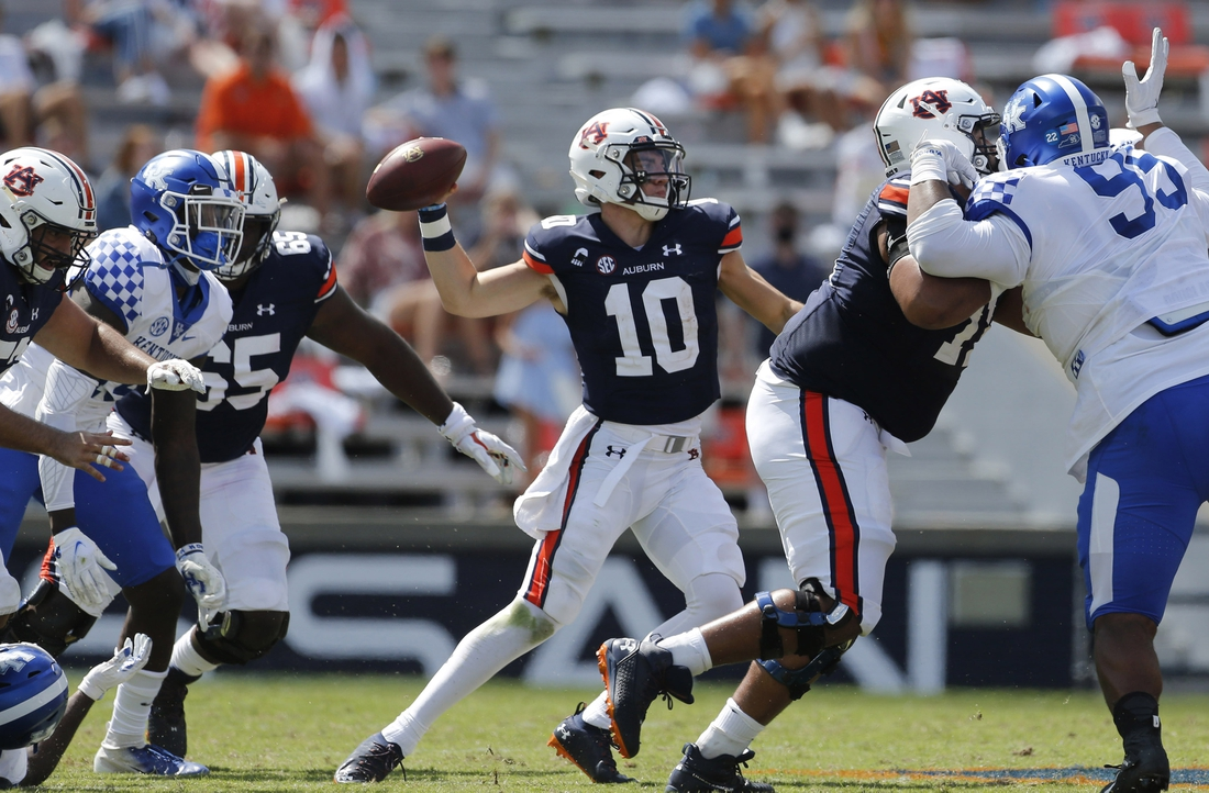 Sep 26, 2020; Auburn, Alabama, USA;  Auburn Tigers quarterback Bo Nix (10) throws a pass against the Kentucky Wildcats during the third quarter at Jordan-Hare Stadium. Mandatory Credit: John Reed-USA TODAY Sports