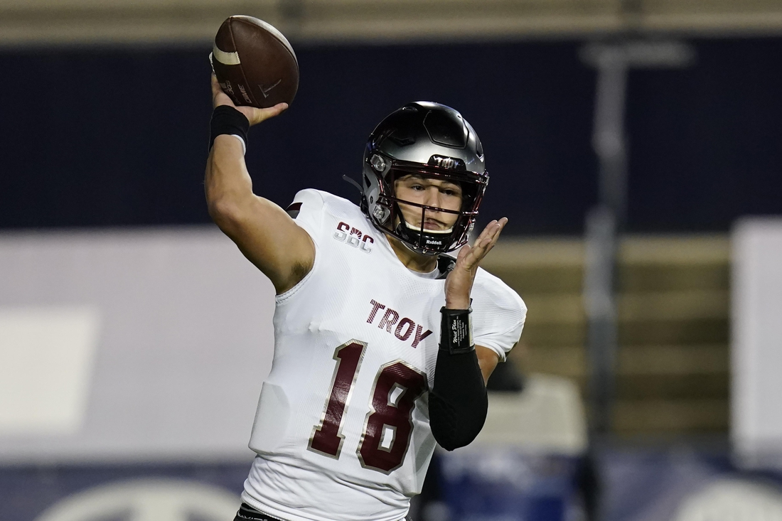 Sep 26, 2020; Provo, UT, USA; Troy quarterback Gunnar Watson (18) throws against BYU in the first half during an NCAA college football game Saturday, Sept. 26, 2020, in Provo, Utah. Mandatory Credit: Rick Bowmer/Pool Photo-USA TODAY Sports