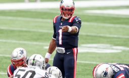 Sep 27, 2020; Foxborough, Massachusetts, USA; New England Patriots quarterback Cam Newton (1) calls a play against the Las Vegas Raiders during the second quarter at Gillette Stadium. Mandatory Credit: Brian Fluharty-USA TODAY Sports