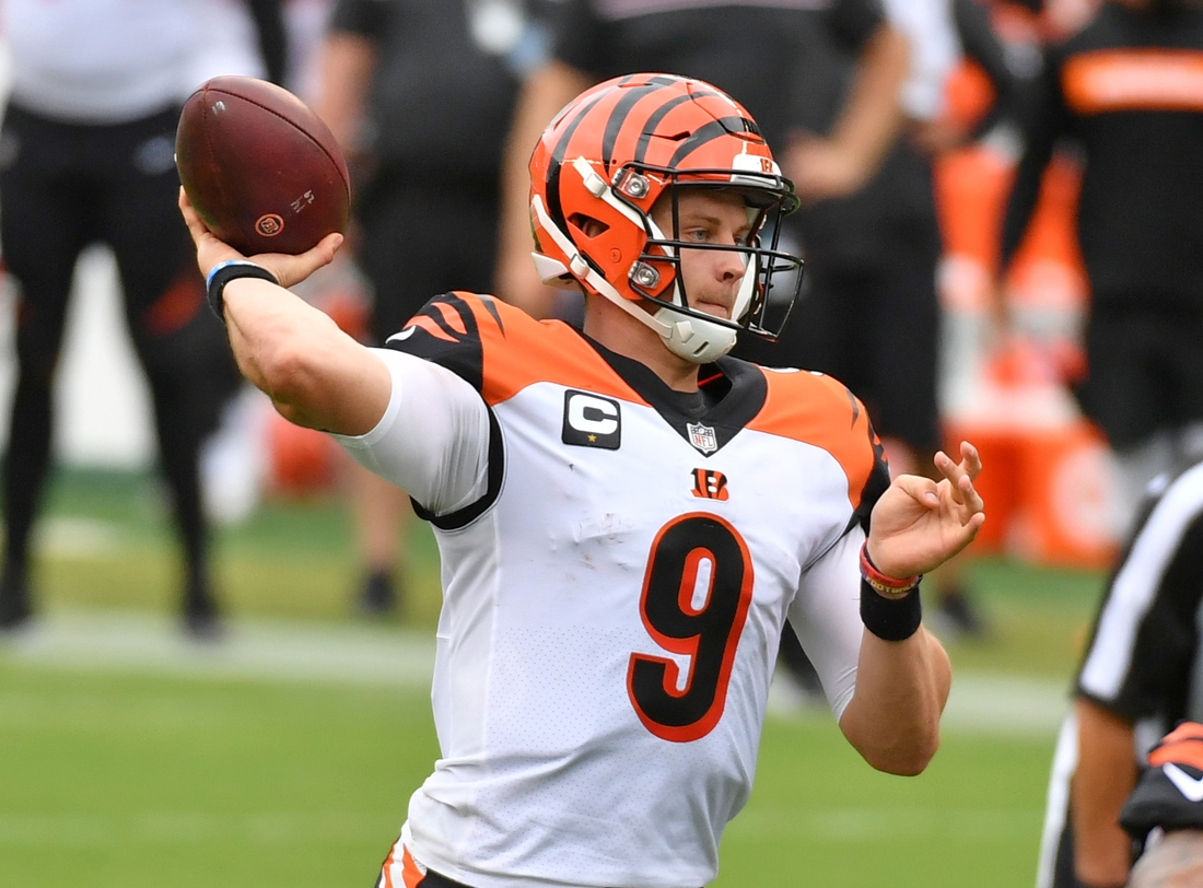 Sep 27, 2020; Philadelphia, Pennsylvania, USA; Cincinnati Bengals quarterback Joe Burrow (9) throws a pass against the Philadelphia Eagles during the third quarter at Lincoln Financial Field. Mandatory Credit: Eric Hartline-USA TODAY Sports
