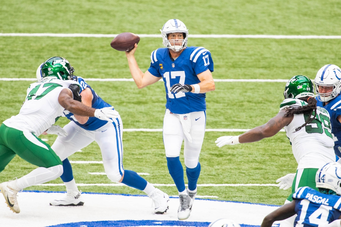 Sep 27, 2020; Indianapolis, Indiana, USA; Indianapolis Colts quarterback Philip Rivers (17) passes the ball in the first half against the New York Jets at Lucas Oil Stadium. Mandatory Credit: Trevor Ruszkowski-USA TODAY Sports