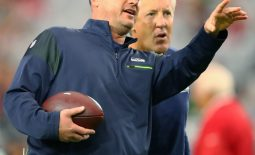 Oct 23, 2016; Glendale, AZ, USA; Seattle Seahawks special teams coordinator Brian Schneider (left) and head coach Pete Carroll against the Arizona Cardinals at University of Phoenix Stadium. The game ended in a 6-6 tie after overtime. Mandatory Credit: Mark J. Rebilas-USA TODAY Sports