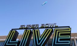 Feb 2, 2017; Houston, TX, USA; A view of the Super Bowl Live Logo as the Direct TV blimp flies over before Super Bowl LI. Mandatory Credit: Peter Casey-USA TODAY Sports