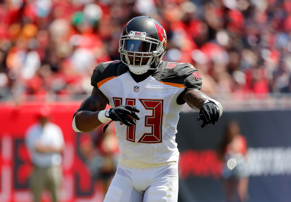 Sep 17, 2017; Tampa, FL, USA; Tampa Bay Buccaneers defensive back T.J. Ward (43) calls a play against the Chicago Bears during the second quarter at Raymond James Stadium. Mandatory Credit: Kim Klement-USA TODAY Sports