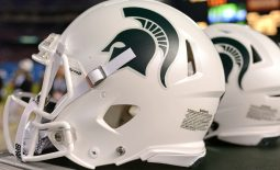 Dec 28, 2017; San Diego, CA, USA; A detailed view of a Michigan State Spartans helmet during the fourth quarter against the Washington State Cougars in the 2017 Holiday Bowl at SDCCU Stadium. Mandatory Credit: Jake Roth-USA TODAY Sports