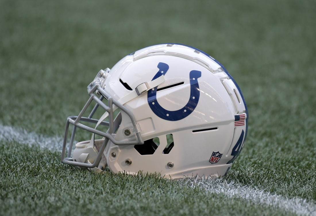 Aug 9, 2018; Seattle, WA, USA; Detailed view of a Indianapolis Colts helmet during a preseason game against the Seattle Seahawks at CenturyLink Field. Mandatory Credit: Kirby Lee-USA TODAY Sports