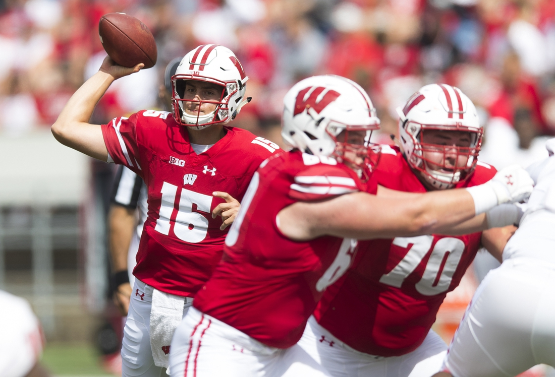 Sep 8, 2018; Madison, WI, USA; Wisconsin Badgers quarterback Danny Vanden Boom (15) throws a touchdown pass during the fourth quarter against the New Mexico Lobos at Camp Randall Stadium. Mandatory Credit: Jeff Hanisch-USA TODAY Sports