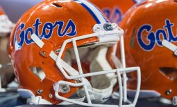 Sep 22, 2018; Knoxville, TN, USA; Florida Gators helmets sitting on the sideline at a game against the Tennessee Volunteers at Neyland Stadium. The Gators won 47-21. Mandatory Credit: Bryan Lynn-USA TODAY Sports