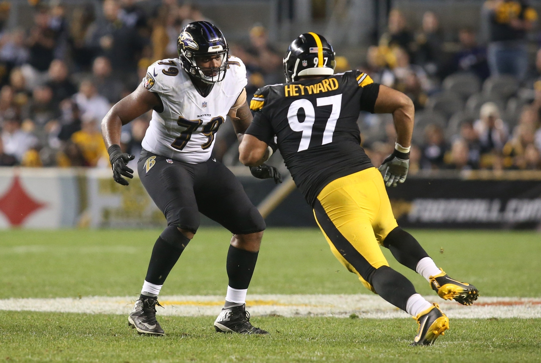 Sep 30, 2018; Pittsburgh, PA, USA;  Baltimore Ravens offensive tackle Ronnie Stanley (79) blocks at the line of scrimmage against Pittsburgh Steelers defensive tackle Cameron Heyward (97) during the fourth quarter at Heinz Field. The Ravens won 26-14. Mandatory Credit: Charles LeClaire-USA TODAY Sports