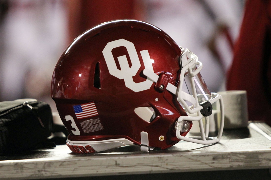 Nov 3, 2018; Lubbock, TX, USA; An Oklahoma Sooners helmet on the sidelines during the game against the Texas Tech Red Raiders at Jones AT&T Stadium. Mandatory Credit: Michael C. Johnson-USA TODAY Sports