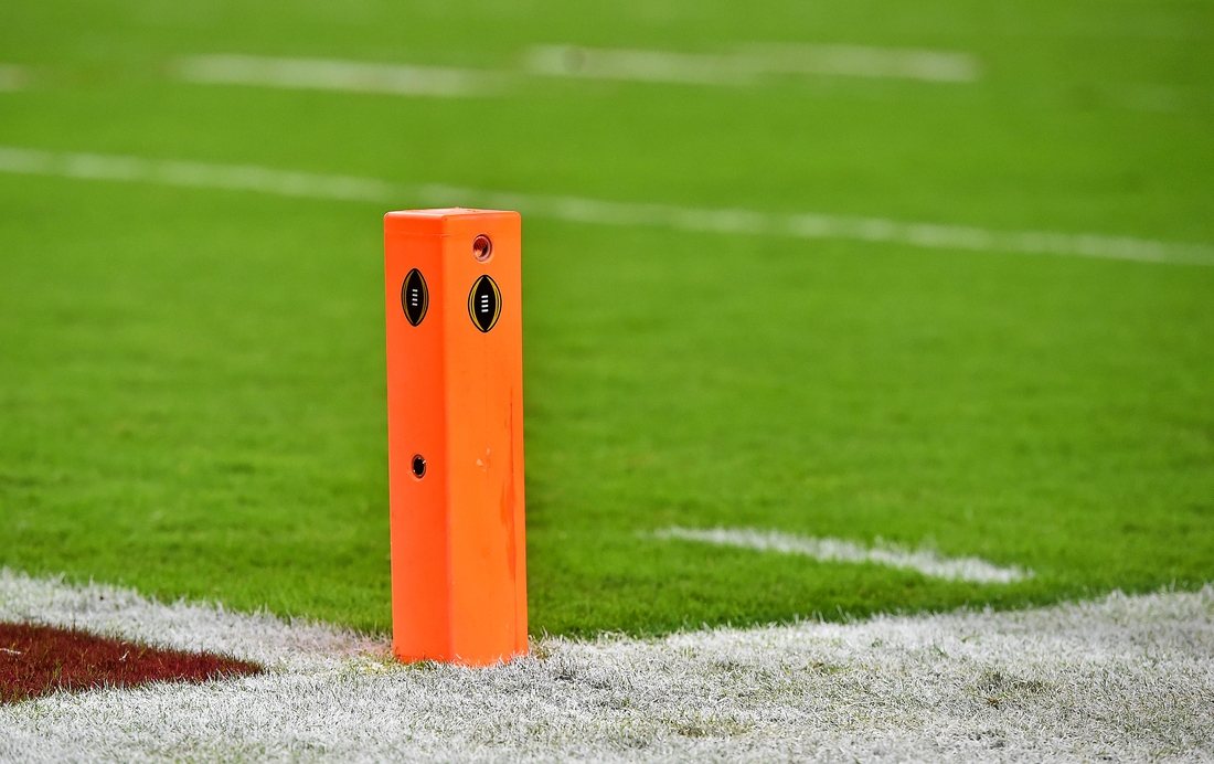 Dec 29, 2018; Miami Gardens, FL, USA; a general view of an end zone pylon on the field in the 2018 Orange Bowl college football playoff semifinal game between the Alabama Crimson Tide and the Oklahoma Sooners at Hard Rock Stadium. Mandatory Credit: Jasen Vinlove-USA TODAY Sports