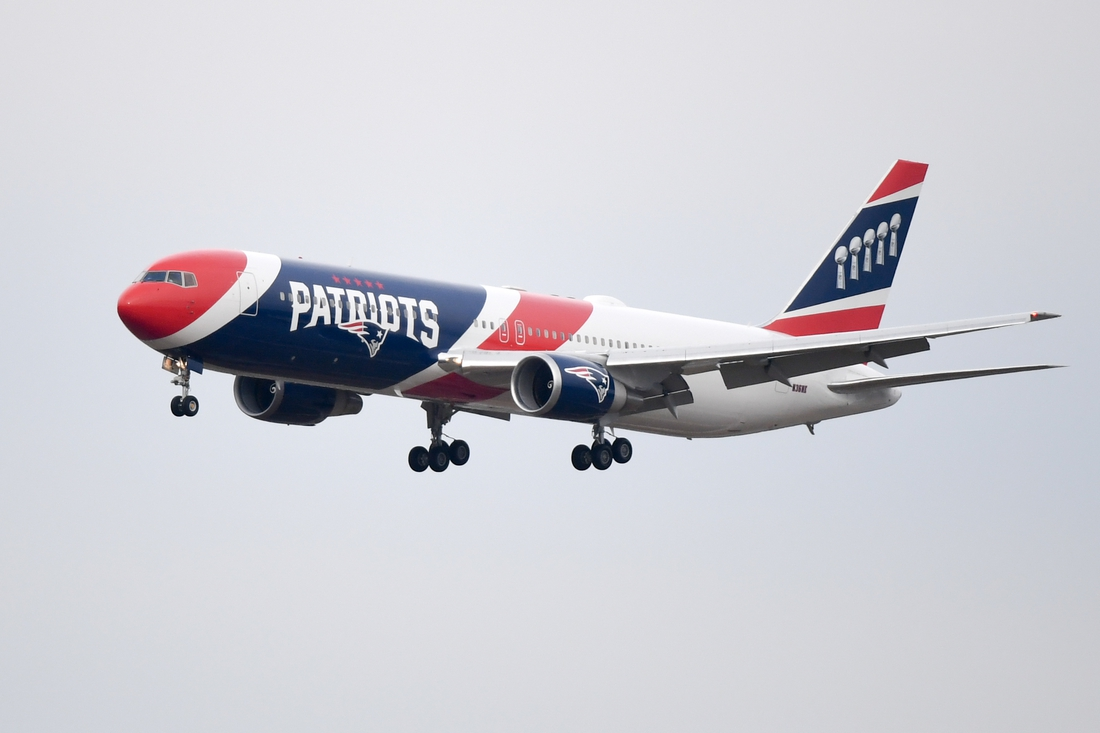 Jan 27, 2019; Atlanta, GA, USA; New England Patriots team plane arrives at Hartsfield Jackson Atlanta International Airport for Super Bowl LIII. Mandatory Credit: Adam Hagy-USA TODAY Sports
