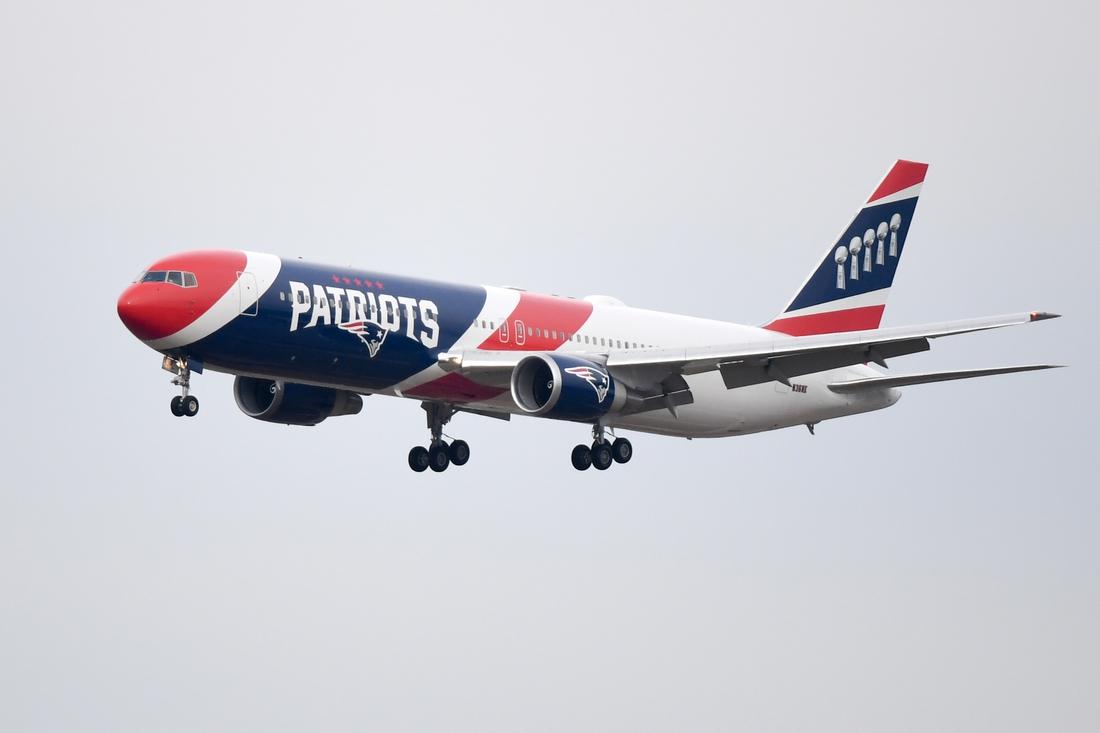 Jan 27, 2019; Atlanta, GA, USA; New England Patriots team plane arrives at Hartsfield Jackson Atlanta International Airport for Super Bowl LIII. Mandatory Credit: Adam Hagy-USA TODAY Sports