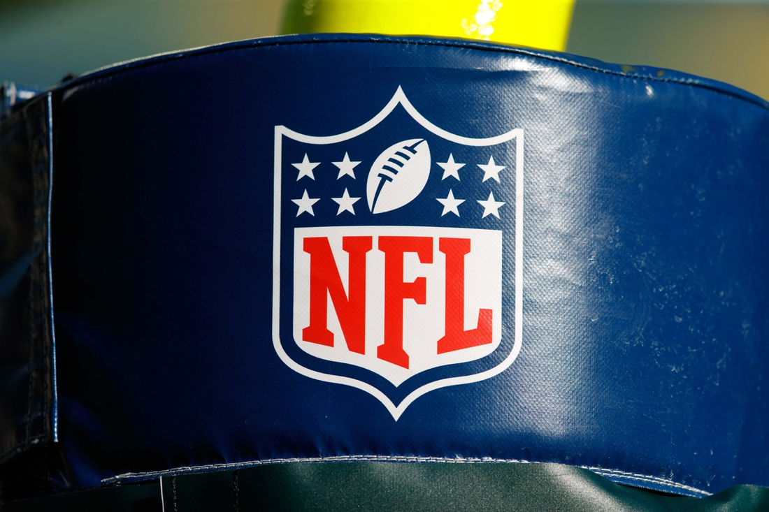 Aug 8, 2019; Green Bay, WI, USA; The NFL logo on goal post padding prior to the game between the Houston Texans and Green Bay Packers at Lambeau Field. Mandatory Credit: Jeff Hanisch-USA TODAY Sports