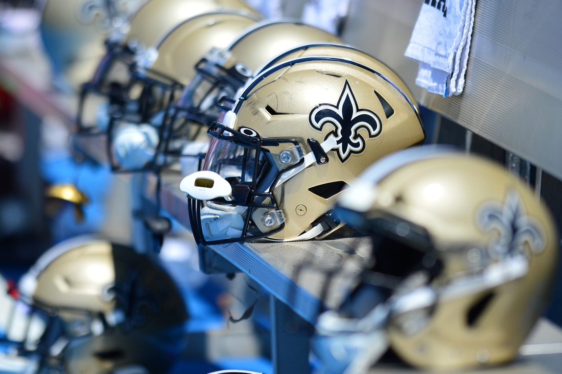 Aug 18, 2019; Carson, CA, USA; A general view of New Orleans Saints helmets against the Los Angeles Chargers at Dignity Health Sports Park. Mandatory Credit: Jake Roth-USA TODAY Sports