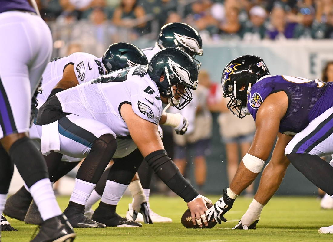 Aug 22, 2019; Philadelphia, PA, USA; Philadelphia Eagles offensive guard Nate Herbig (67) snaps the football against the Baltimore Ravens at Lincoln Financial Field. Mandatory Credit: Eric Hartline-USA TODAY Sports
