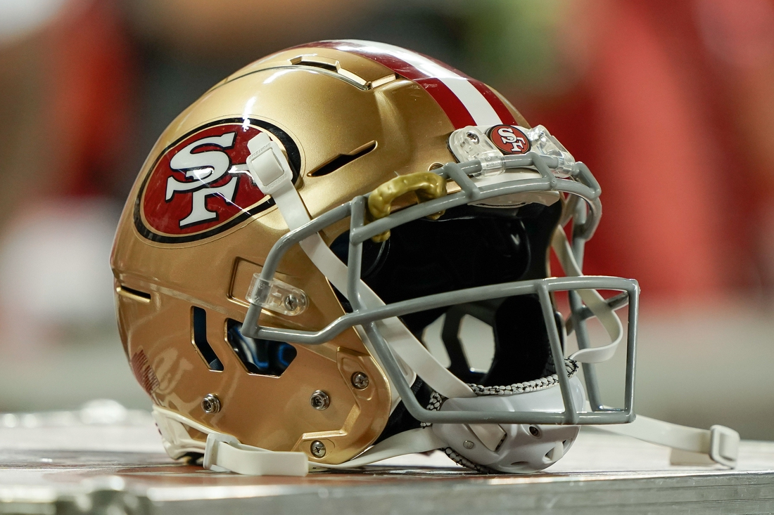 Aug 29, 2019; Santa Clara, CA, USA; General view of the San Francisco 49ers helmet in the game against the Los Angeles Chargers during the second quarter at Levi's Stadium. Mandatory Credit: Stan Szeto-USA TODAY Sports