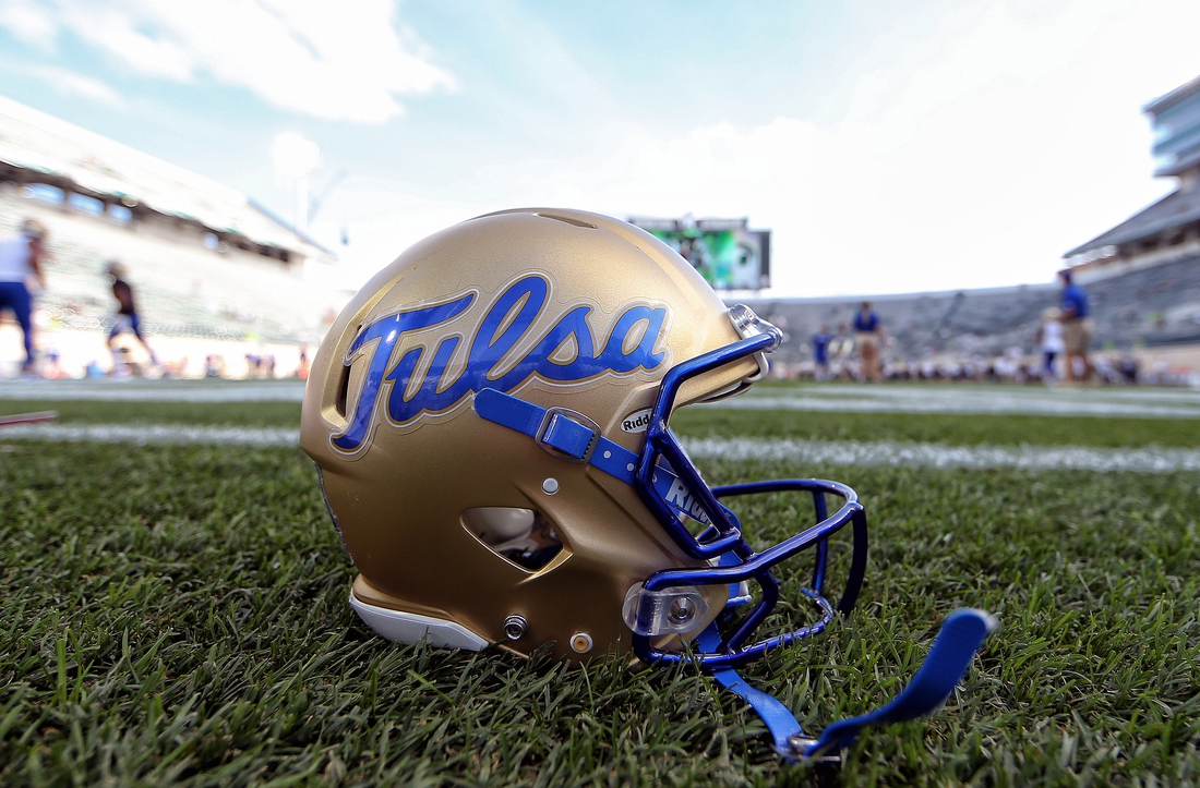 Aug 30, 2019; East Lansing, MI, USA; General view of Tulsa Golden Hurricane helmet on the field prior to a game between the Michigan State Spartans and the Tulsa Golden Hurricane at Spartan Stadium. Mandatory Credit: Mike Carter-USA TODAY Sports
