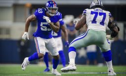 Sep 8, 2019; Arlington, TX, USA; New York Giants linebacker Oshane Ximines (53) and Dallas Cowboys offensive tackle Tyron Smith (77) in action during the game between the Cowboys and the Giants at AT&T Stadium. Mandatory Credit: Jerome Miron-USA TODAY Sports