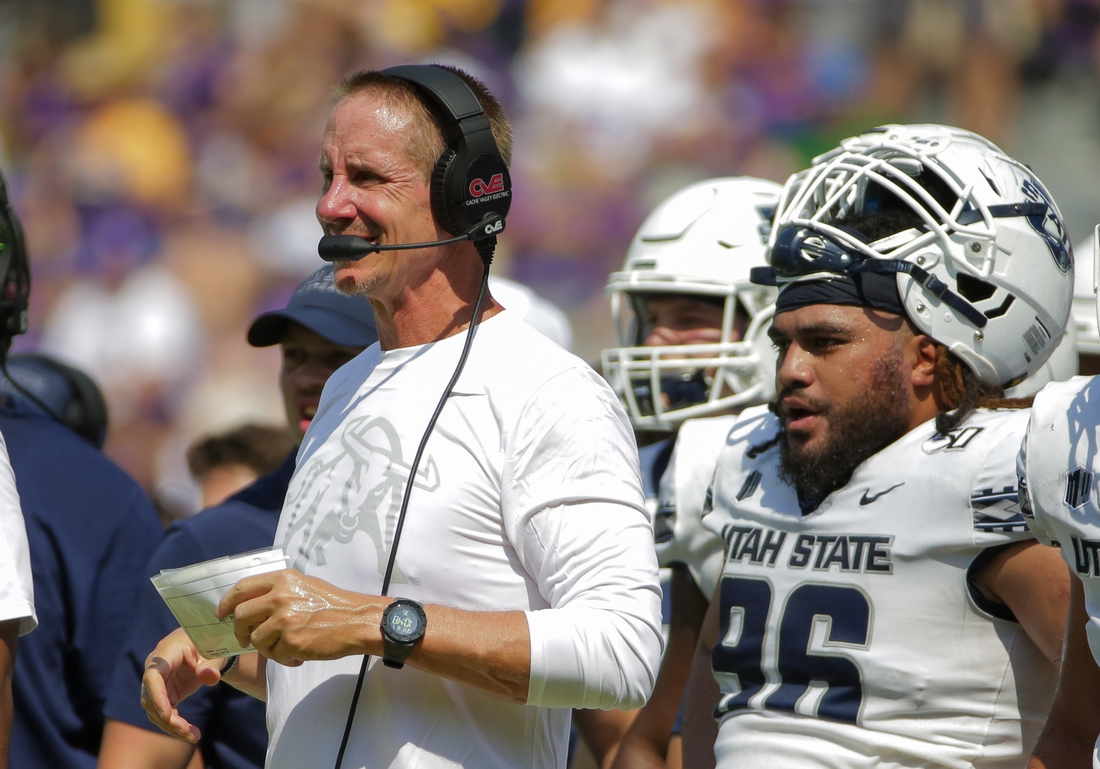 Oct 5, 2019; Baton Rouge, LA, USA; Utah State Aggies head coach Gary Andersen looks on during the first half against the LSU Tigers at Tiger Stadium. Mandatory Credit: Derick E. Hingle-USA TODAY Sports