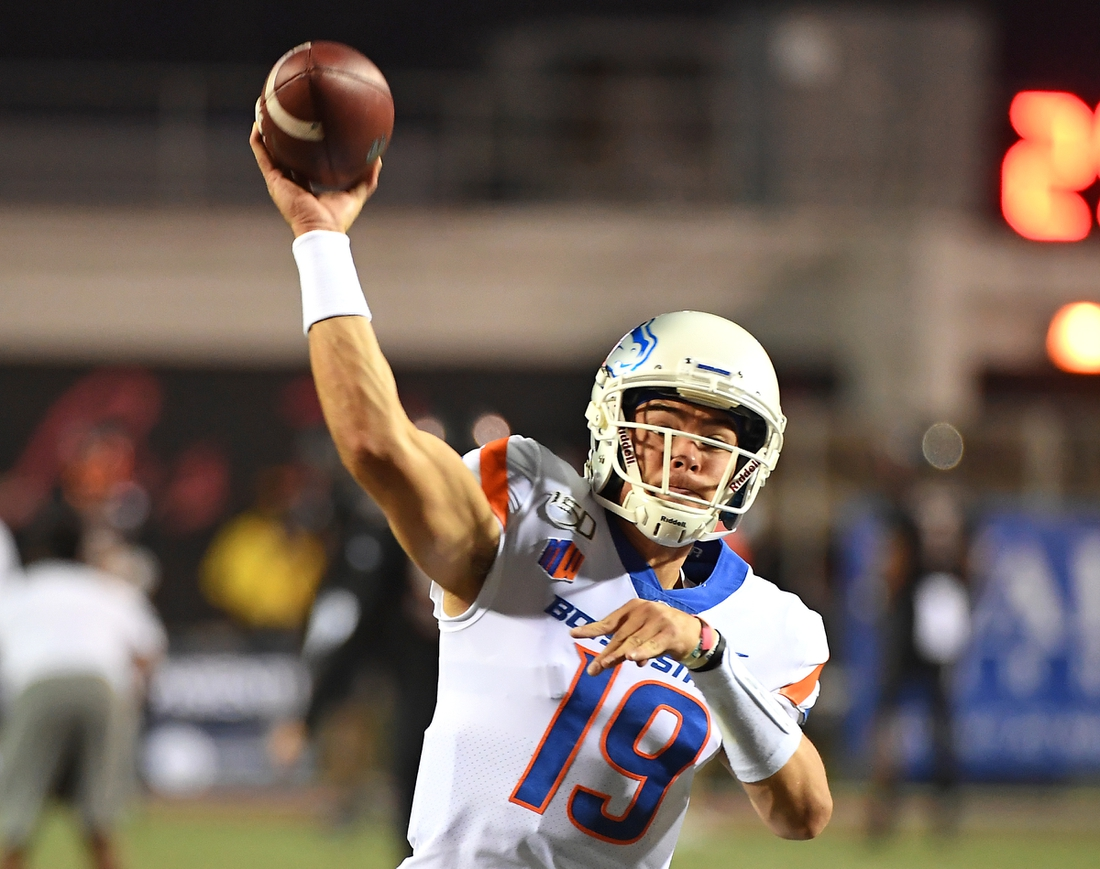 Oct 5, 2019; Las Vegas, NV, USA; Boise State Broncos quarterback Hank Bachmeier (19) warms up before a game against the UNLV Rebels at Sam Boyd Stadium. Mandatory Credit: Stephen R. Sylvanie-USA TODAY Sports