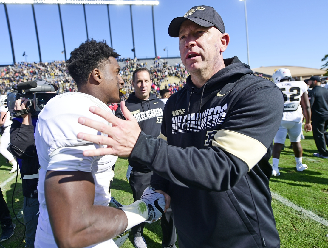 Oct 12, 2019; West Lafayette, IN, USA; Purdue Boilermakers head coach Jeff Brohm congratulates his players after defeating the Maryland Terrapins, 40-14  at Ross-Ade Stadium. Mandatory Credit: Thomas J. Russo-USA TODAY Sports