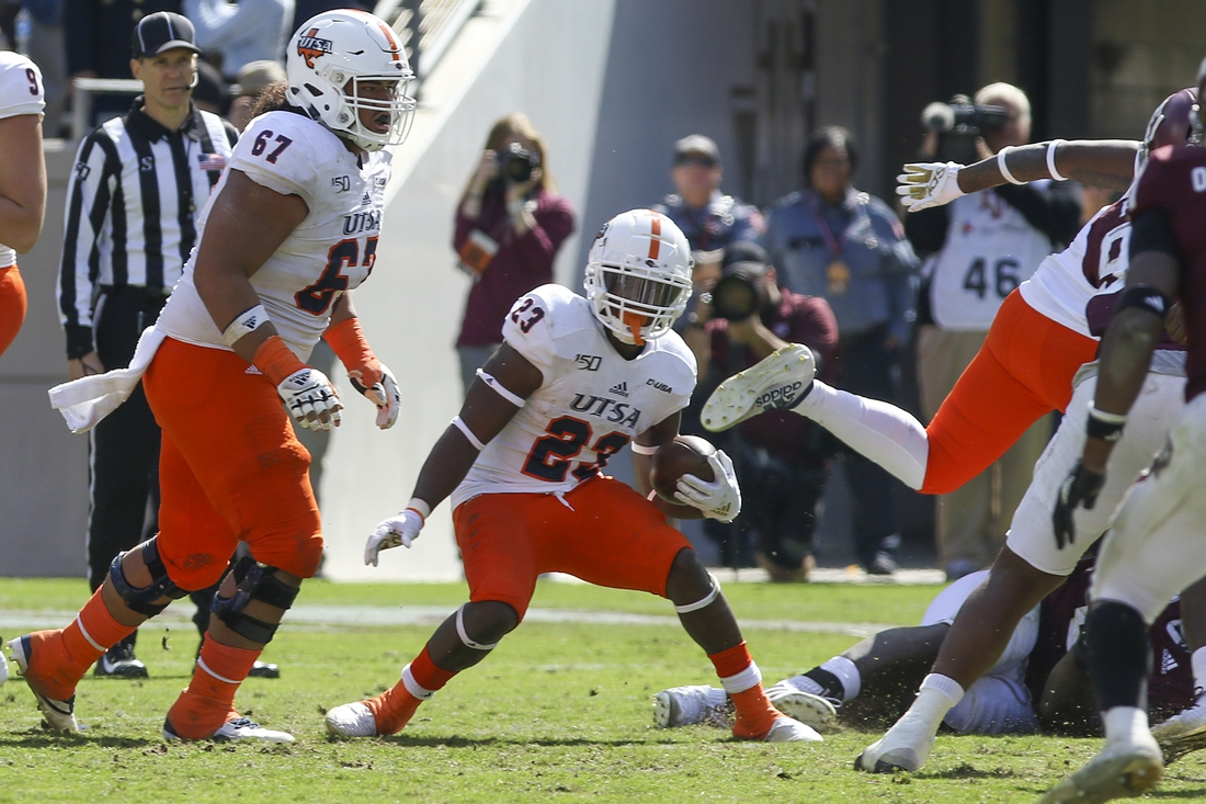 Nov 2, 2019; College Station, TX, USA; UTSA Roadrunners running back Sincere McCormick (23) tries to find a hole during the fourth quarter against the Texas A&M Aggies at Kyle Field. Mandatory Credit: John Glaser-USA TODAY Sports