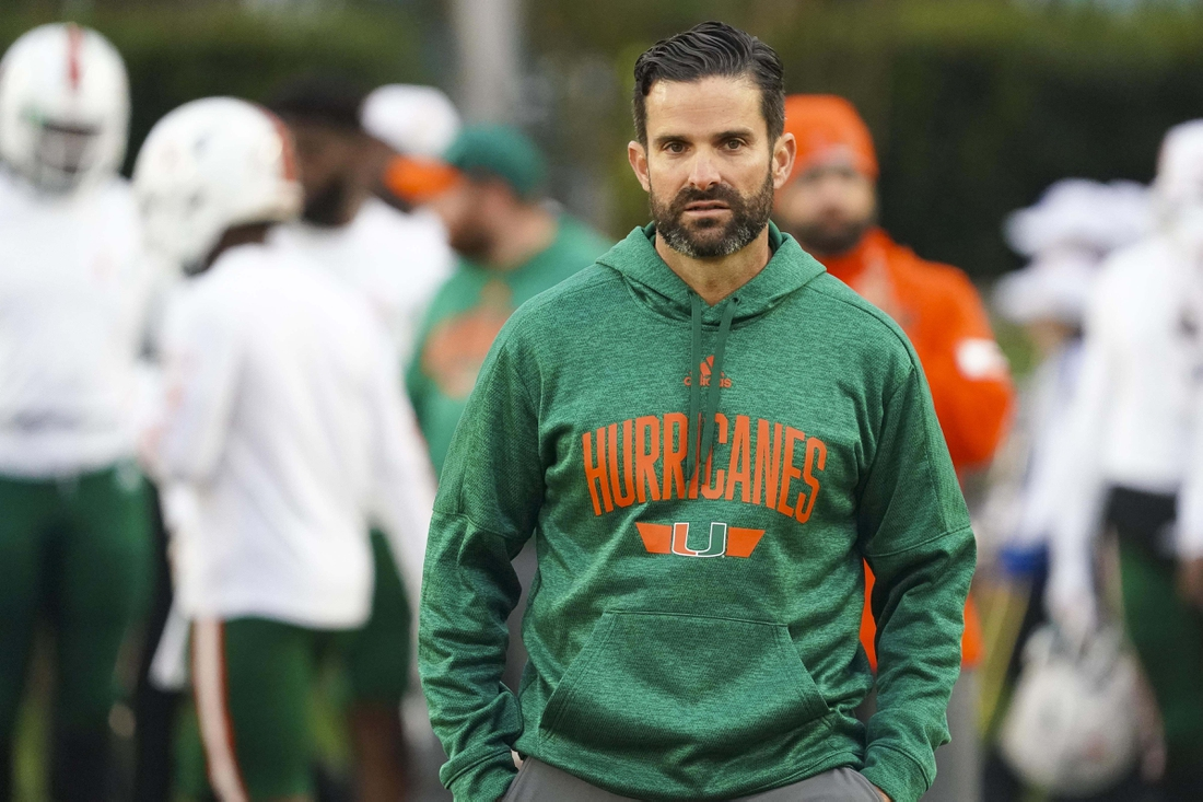 Nov 30, 2019; Durham, NC, USA;  Miami Hurricanes head coach Manny Diaz looks on before the game against the Duke Blue Devils at Wallace Wade Stadium. Mandatory Credit: James Guillory-USA TODAY Sports