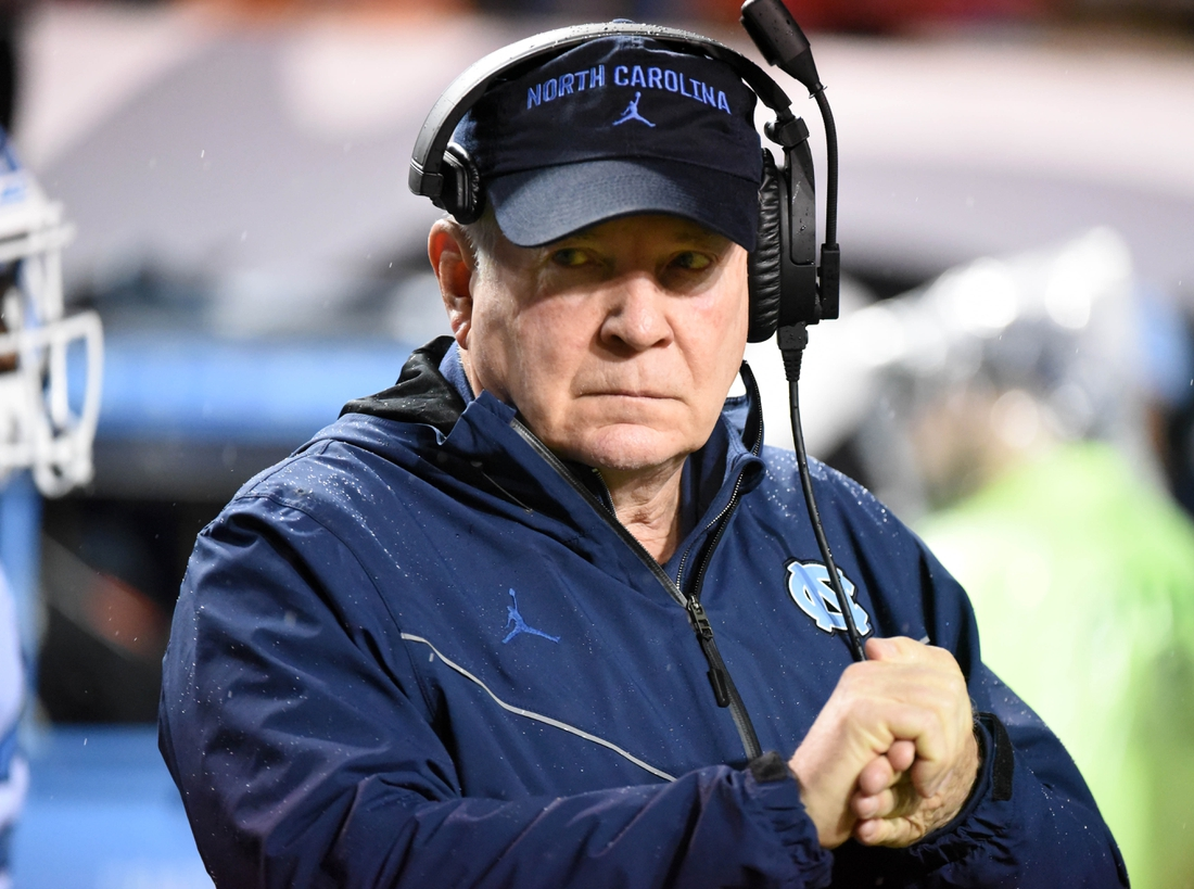 Nov 30, 2019; Raleigh, NC, USA; North Carolina Tar Heels head coach Mack Brown looks on during the first half against the North Carolina State Wolfpack at Carter-Finley Stadium. Mandatory Credit: Rob Kinnan-USA TODAY Sports