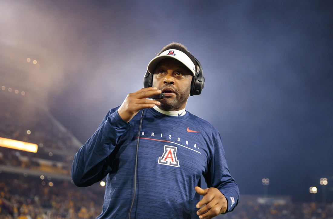 Nov 30, 2019; Tempe, AZ, USA; Arizona Wildcats head coach Kevin Sumlin against the Arizona State Sun Devils in the Territorial Cup at Sun Devil Stadium. Mandatory Credit: Mark J. Rebilas-USA TODAY Sports